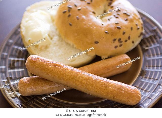 Close-up of frankfurters with a bagel