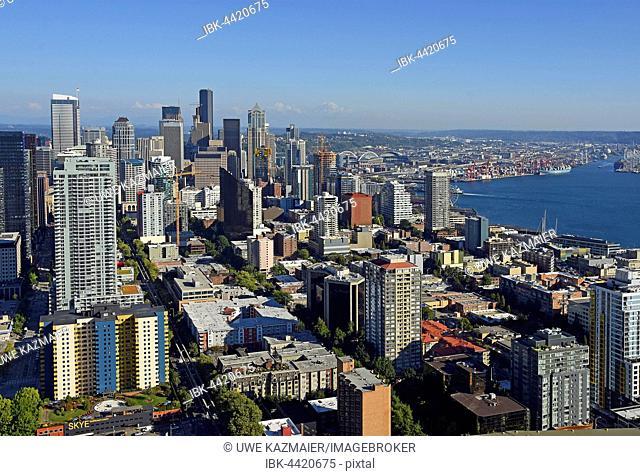 Skyline with Elliott Bay, Seattle, Washington, USA