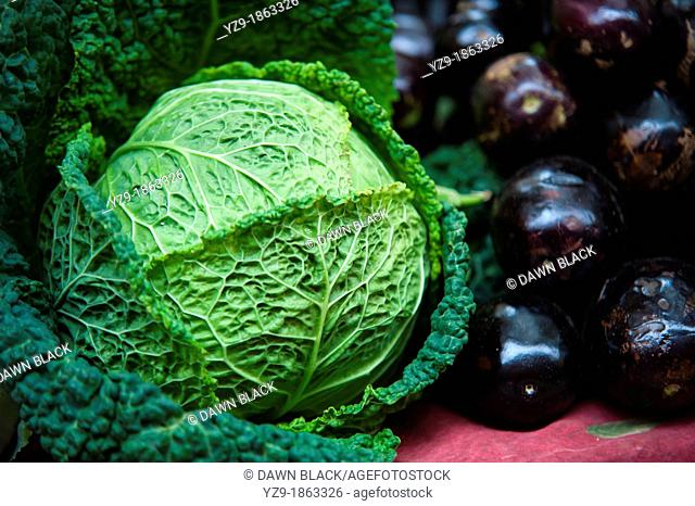 Green Cabbage and Aubergines on market stall