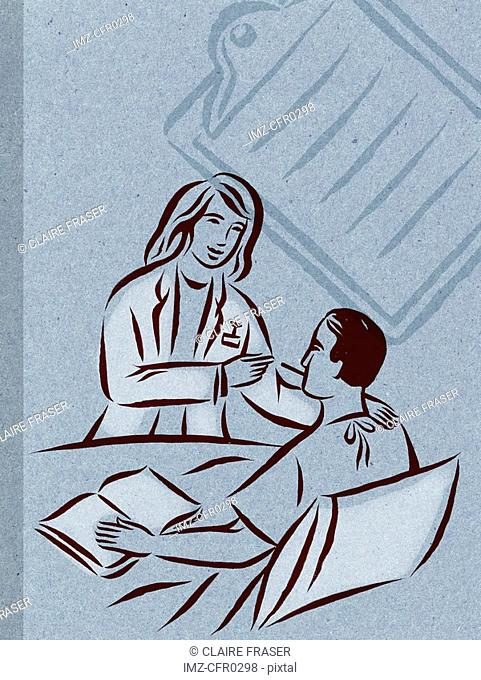 Illustration of a doctor with a bedridden patient, and a clipboard in the background