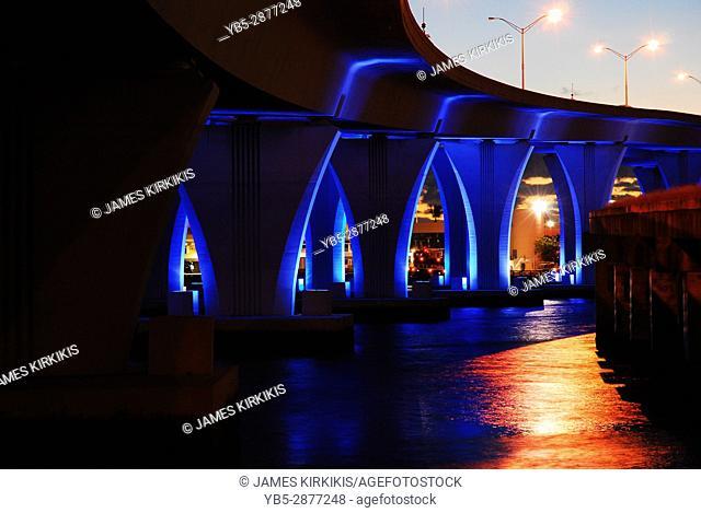 Miami's Port Boulevard Bridge lights up the Bay