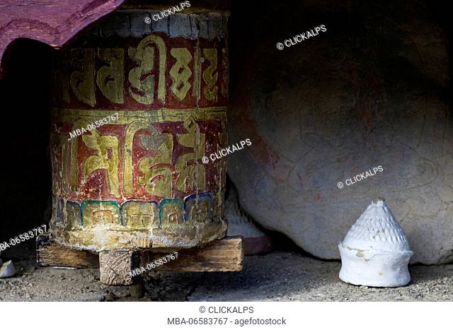 Likir Monastery, Indus Valley, Ladakh, India, Asia, Buddhist prayer wheels