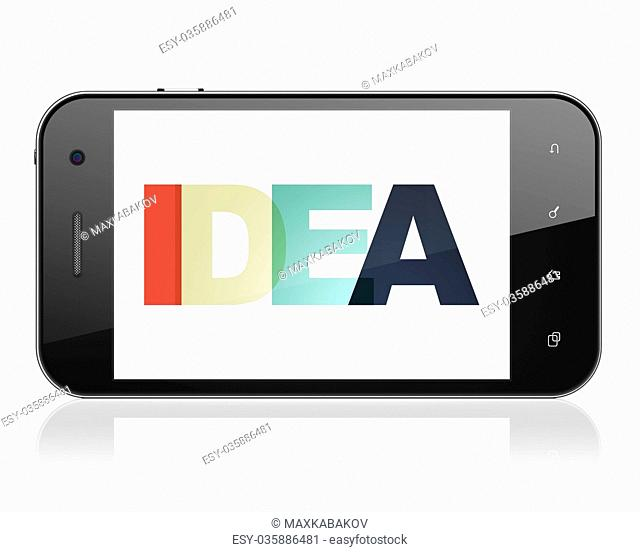 Advertising concept: Smartphone with Idea on display