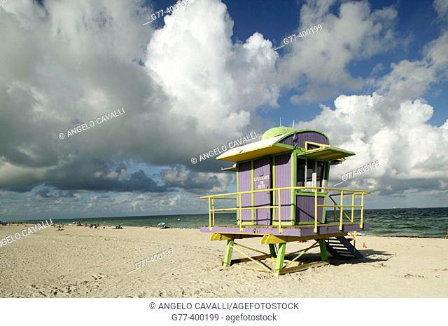 Usa. Florida. Miami Beach. South Beach. Art deco district. Lifeguard post in south beach