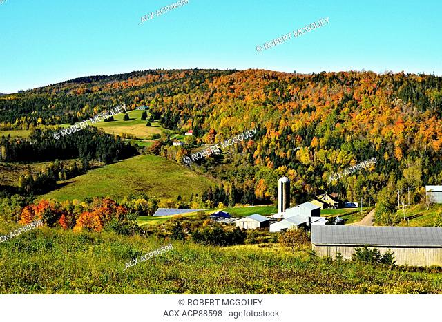 A family farm situated on a hillside has a wonderful view of its surroundings near Waterford New Brunswick Canada