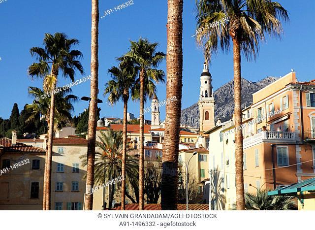 France, Provence, Alpes Maritimes 06, Cote d'azur, city of Menton at seaside