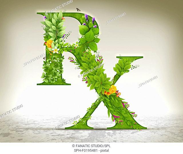 Illustration of RX symbol made of herbs