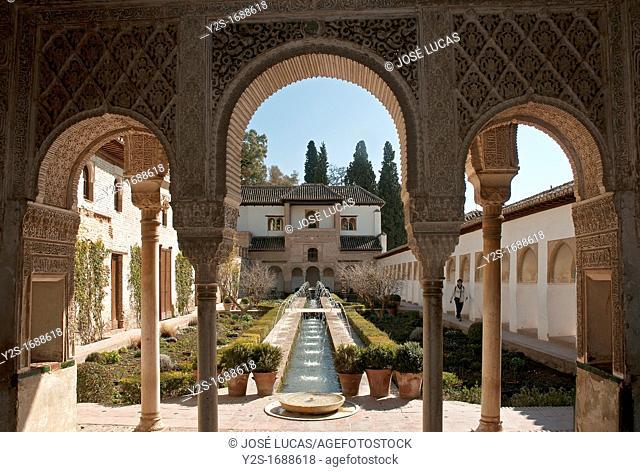 Courtyard of la Acequia, The Generalife gardens, Granada, Spain