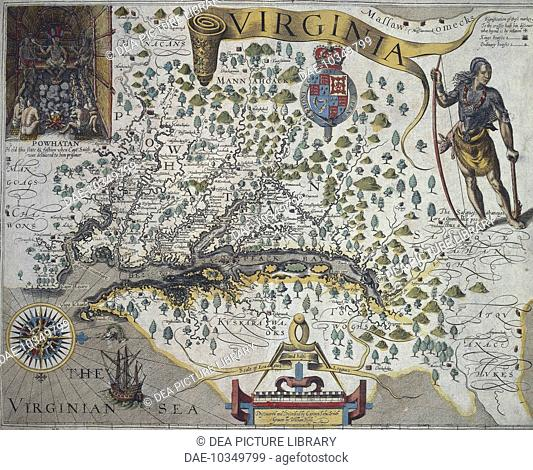 Map of Virginia: Inset (top left) shows the interior of the Indian chief Powathan's hut, by John Smith (1580-1631), 1612