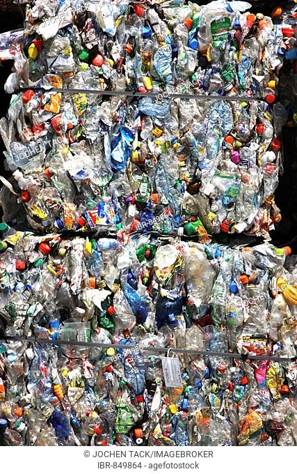Plastic recycling, PET bottles and plastic rubbish are shredded and pressed, Essen, North Rhine-Westphalia, Germany, Europe