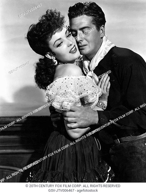 Linda Darnell, Victor Mature, on-set of the Film My Darling Clementine, 1946, 20th Century Fox Film Corp. All rights reserved