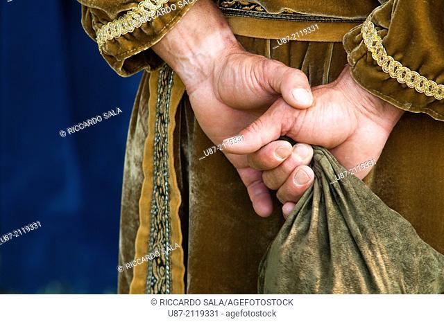 Italy, Piedmont, Historical Reenactment Mediaeval, , Man in Medieval Costume, Hands