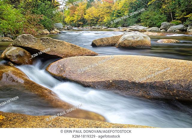 Just above the Lower Ammonoosuc Falls on the Ammonoosuc River in Carroll, New Hampshire USA during autumn months