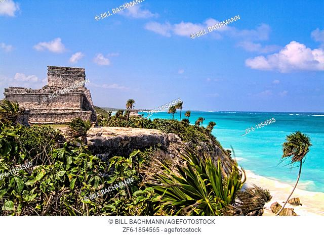 The Famous Tulum Ruins and Landmark of Mexico and the blue ocean
