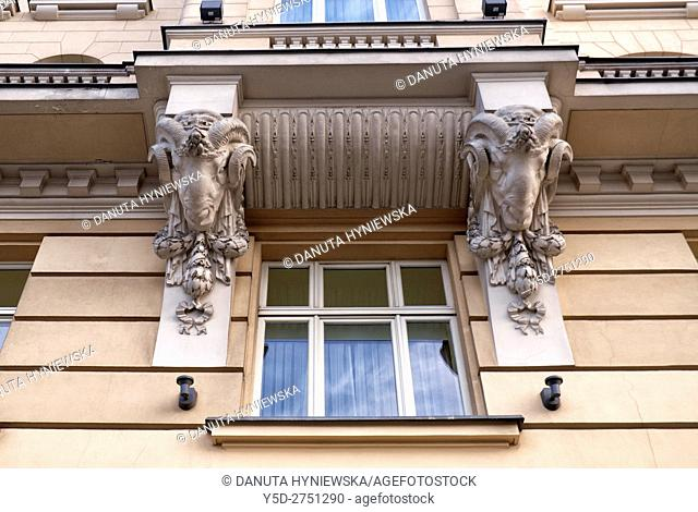 Architectural detail, Polonia Palace Hotel, Warsaw, poland