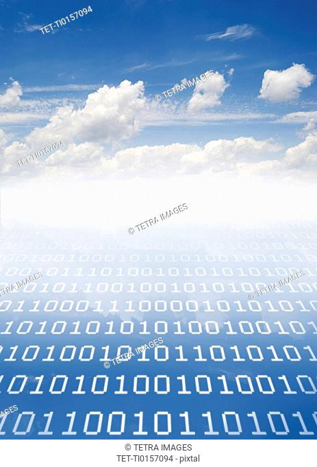 Cloudscape with binary code