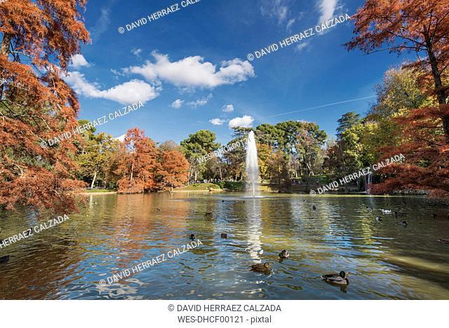 Spain, Madrid, Retiro Park in autumn