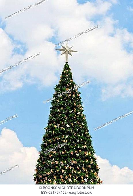Christmas tree on blue sky