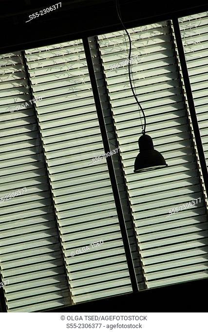 Window blinds and a lamp, old Born Market at Plaza Comercial, 1876, Barcelona, Catalonia, Spain
