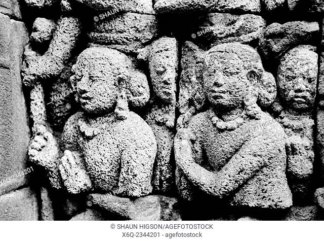 Borobudur the world's largest Buddhist monument near Yogyakarta in Java in Indonesia in Southeast Asia Far East