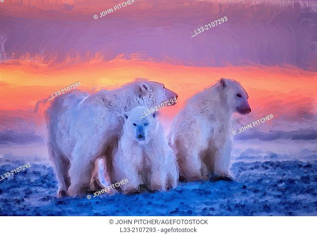 Polar bear family at sunset, oil painting effect, digital art