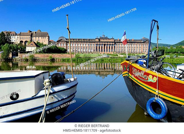 France, Bas Rhin, Saverne, the Rohan castle and the channel from the Marne river to the Rhine river, the river port