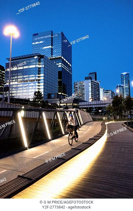 Cyclist on Jim Stynes Bridge, with Melbourne skyline