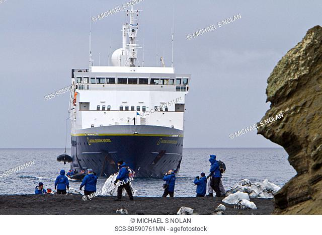 The Lindblad Expedition Ship National Geographic Explorer operating in Antarctica in the summer months