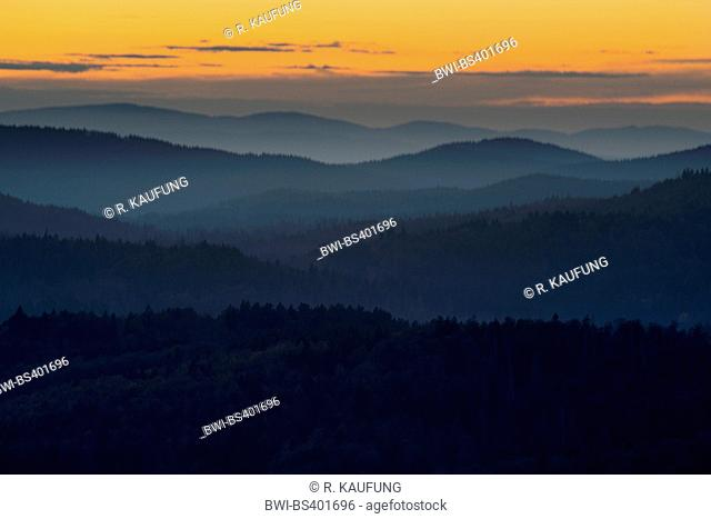 view to the landscape of Bavarian Forest in evening light, Germany, Bavaria, Bavarian Forest National Park