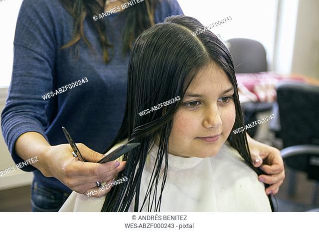 Girl in a hair salon