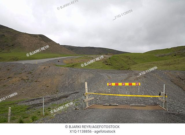 Iceland, June 9, 2010 : Volcanic ash from Eyjafjallajokull volcano is still blowing around south and southwest Iceland  Roadblock is closing the roads towards...