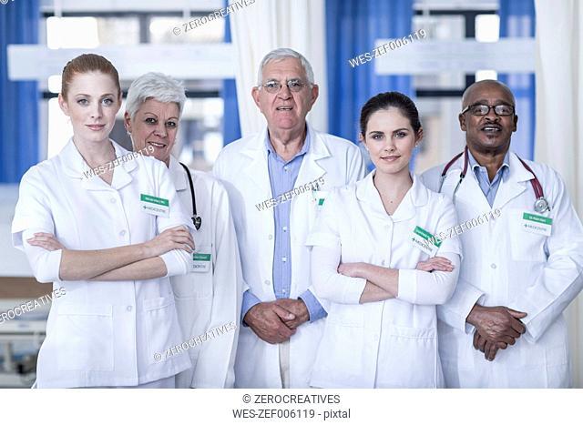 Portrait of confident hospital team
