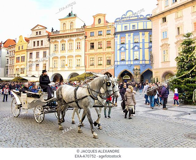 Czech Republic, Prague, horse-drawn carriage