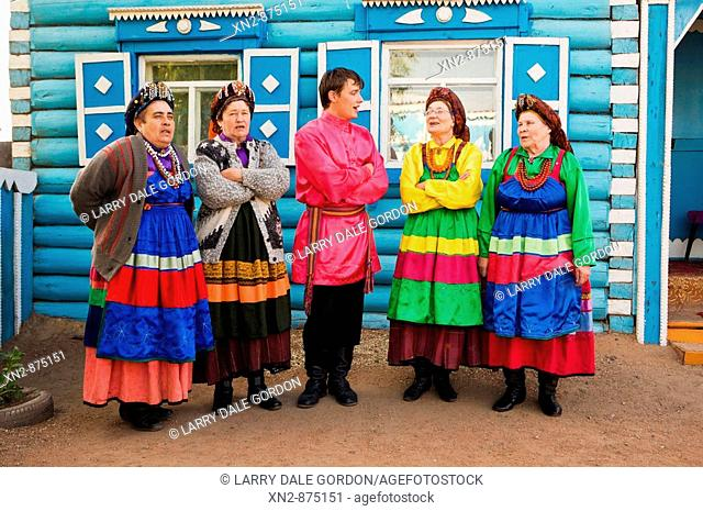 Russia. Tarbagatai Villlage of Old Believers of original Russian Orthodox. Ladies Belina Choir, founded 25 years ago