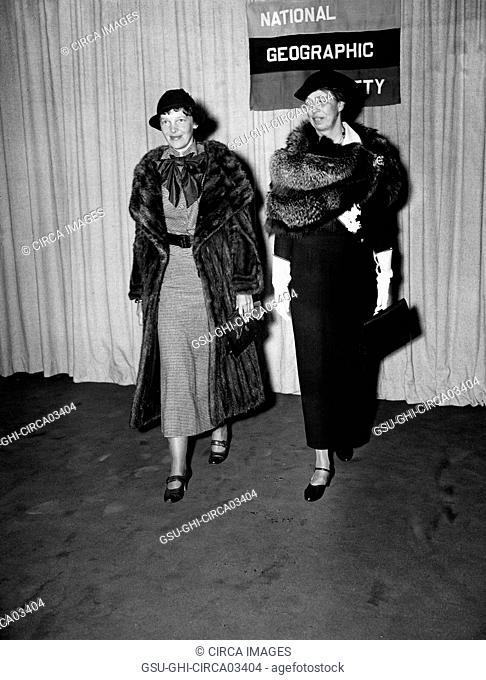 Amelia Earhart and First Lady Eleanor Roosevelt, Portrait Attending National Geographic Society Event, Harris & Ewing, 1935