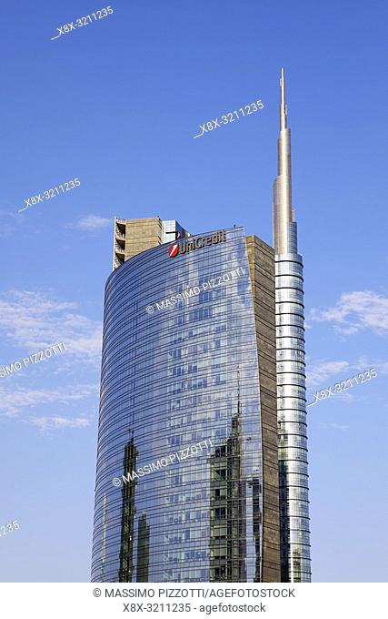 The modern district of Porta Nuova with Unicredit tower, Milan, Italy