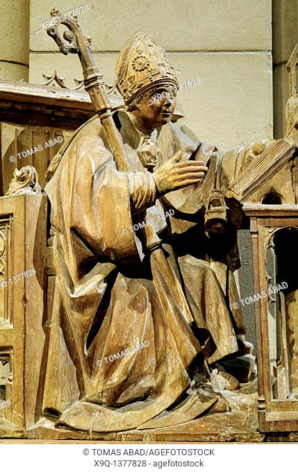 Saint Ambrose in His Study, ca  1500, North Spanish, Made in Palencia, Tamara, Spain, Wood with traces of paint Overall: 36 x 28 1/4 in  91 4 x 71 8 cm