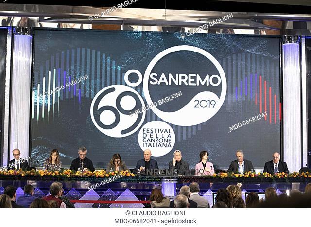 Claudio Bisio, Virginia Raffaele, Claudio Baglioni and Teresa De Santis in the Press Room of the 69th Sanremo Music Festival