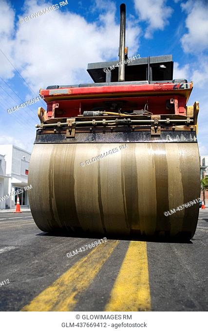Low angle view of steamroller at road construction site, Biscayne Boulevard, Miami, Florida, USA
