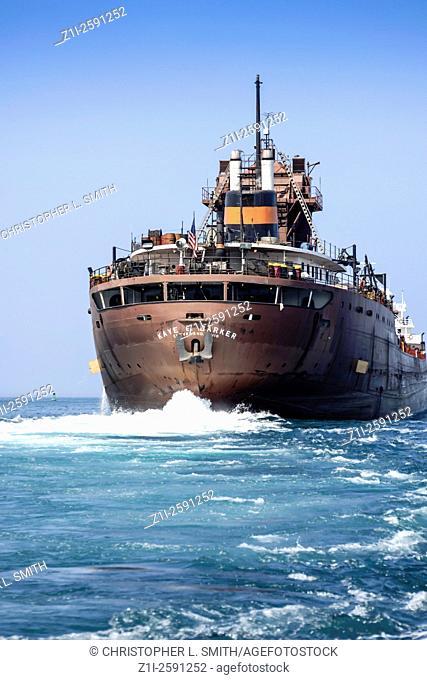 A Bulk Freighter carrying Ore sailing on Lake Huron, USA