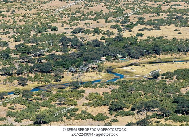 Aerial views from the plane before take the Camp Savute Elephant Camp by Orient Express in Botswana in the Chobe National Park