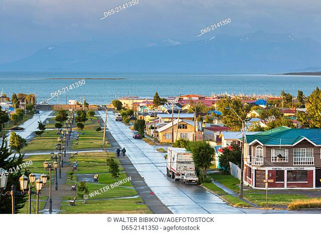 Chile, Magallanes Region, Puerto Natales, elevated town view, dawn