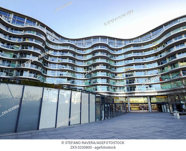 Albion Riverside Luxury residential apartment building designed by Foster & Partners in Wandsworth - South West London, England