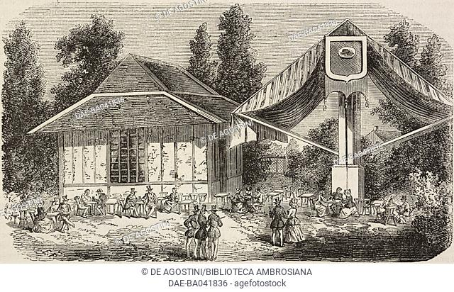 Visitor's cafe, Antwerp zoo, Belgium, drawing by Forest, engraving by Best, Hotelin and Co, illustration from L'Illustration, Journal Universel, No 493