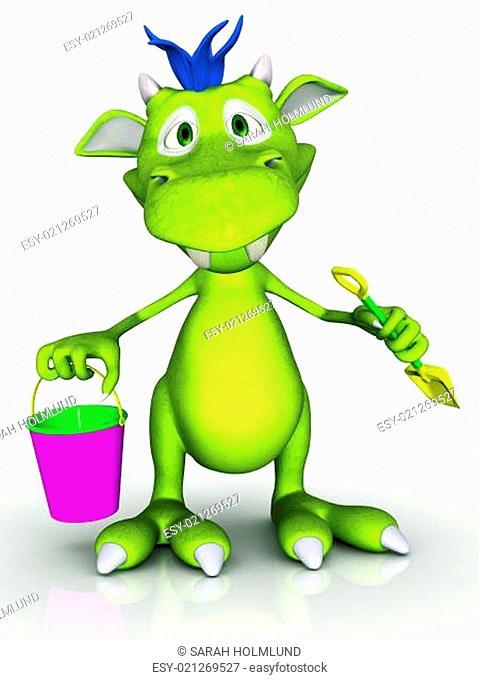 Cute cartoon monster holding a bucket and a spade