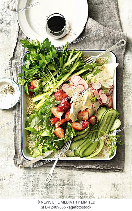 Spring salad with balsamic glaze dressing