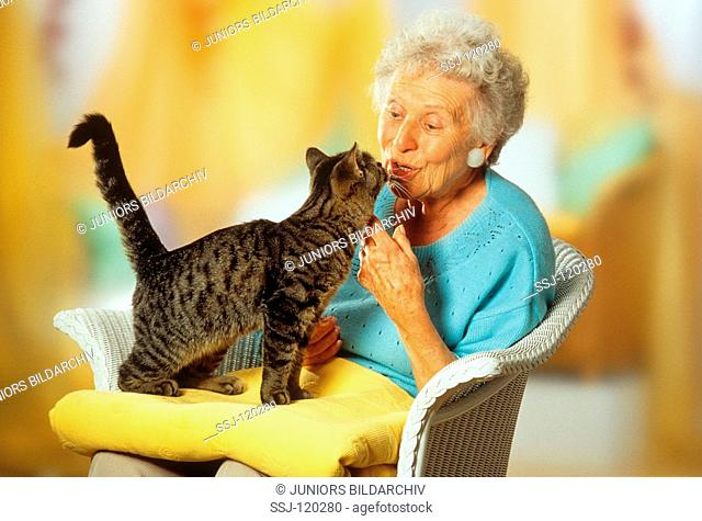old lady with cat