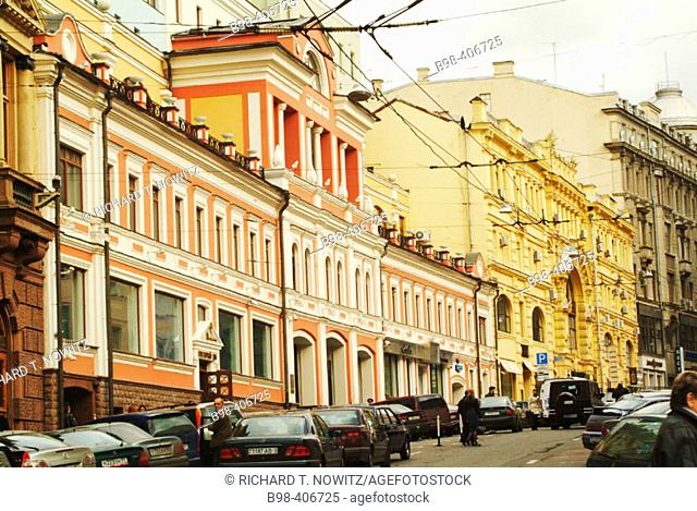 Moscow, Russia, Ulista Ilinka (street), prerevoltutionary architecture, classical Russian Rivival building facades
