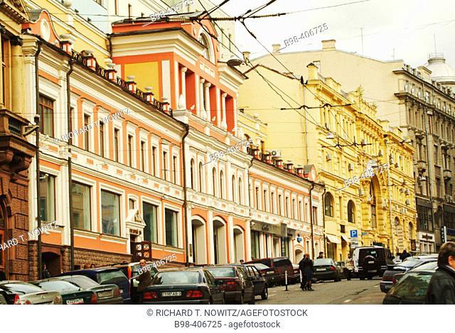 Moscow, Russia, Ulista Ilinka (street), prerevoltutionary architecture, classical Russian Rivival building facades