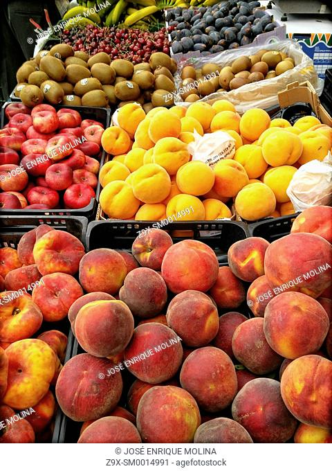 Peaches and fruits in the market. Vic, Barcelona, Spain
